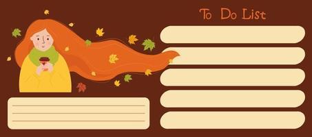 lista de afazeres. garota de outono com cabelo esvoaçante e folhas de outono vetor