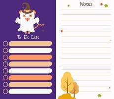 planejador de outono. tigre fantasma de halloween. modelo de lista de tarefas e notas vetor