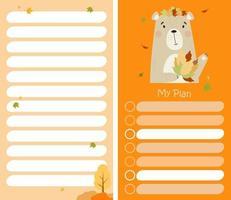 organizador de planejador de outono com urso fofo com folhas de outono vetor