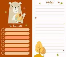 planejador organizador lista de tarefas e notas com urso com folhas de outono vetor
