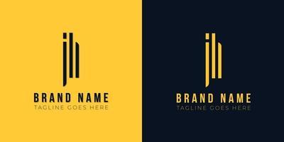 logotipo minimalista abstrato letra inicial jh. vetor