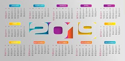 Calendário moderno para o ano de 2019.