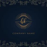 logotipo de letra hk de luxo elegante. vetor