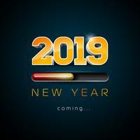 2019 ano novo chegando ilustração