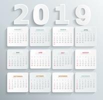 Calendário simples para o ano de 2019.