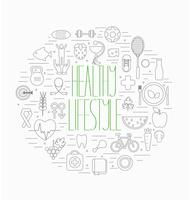 Conjunto de símbolos de estilo de vida saudável