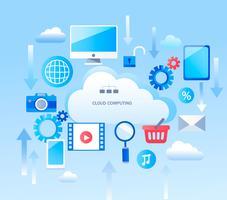 Infográfico abstrato para serviços de computação em nuvem