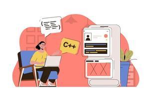 conceito de programação para site e site móvel vetor