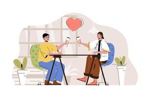 conceito de encontro romântico para site e site móvel vetor