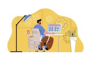 conceito de otimização de trabalho para site e site móvel vetor