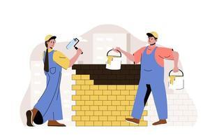 conceito de equipe de construção para site e site móvel vetor