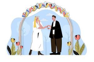 conceito de cerimônia de casamento para website e site móvel vetor