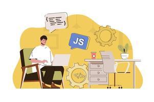 conceito de desenvolvedor front-end para site e site móvel vetor