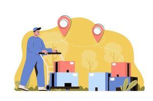 conceito de armazém de entrega para site e site móvel vetor
