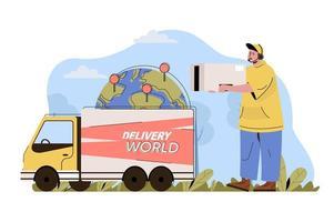 conceito de entrega internacional para site e site móvel vetor