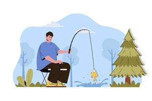 conceito de férias de pesca para website e site móvel vetor