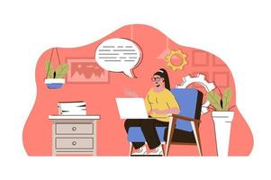 conceito de trabalho remoto para site e site móvel vetor