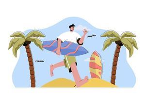 vá surfar conceito para website e site móvel vetor