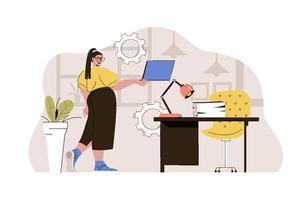 conceito de gerente de escritório para site e site móvel vetor