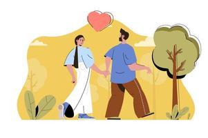 conceito de casal apaixonado para site e site móvel vetor