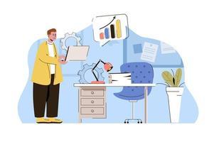 conceito de vida no escritório para website e site móvel vetor