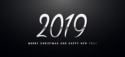 Ilustração do cumprimento de 2019 Holiday Vector com números de prata.