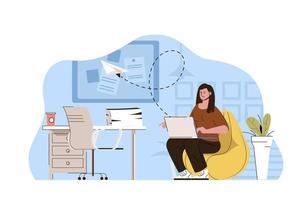 conceito de trabalhador de escritório para site e site móvel vetor