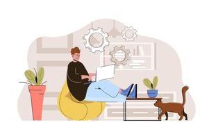 conceito de freelancer profissional para website e site móvel vetor
