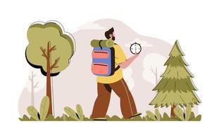 conceito de campanha na floresta para website e site mobile vetor