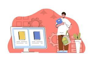 conceito de educação online para site e site móvel vetor