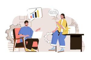 conceito de discussão de negócios para site e site móvel vetor