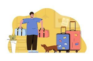 conceito de preparação de férias para site e site móvel vetor