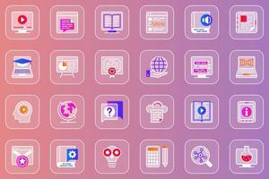 conjunto de ícones glassmorphic da web educação online vetor