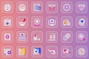 conjunto de ícones glassmorphic da web de serviços médicos vetor