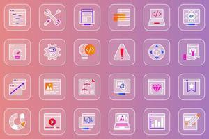 conjunto de ícones glassmorphic de desenvolvimento web vetor