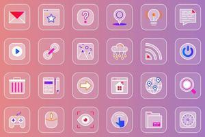 conjunto de ícones glassmorphic da web da interface do usuário do site vetor