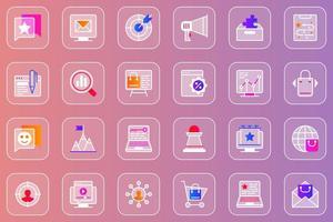 conjunto de ícones de vidro mórfico de web marketing digital vetor