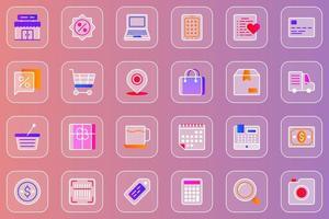 conjunto de ícones glassmorphic da web de compras vetor