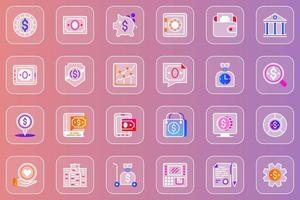 conjunto de ícones de itens financeiros da web glassmorphic vetor