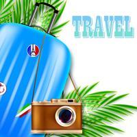 Ilustração de viagens. Mala com câmera retro e folhas de palmeira