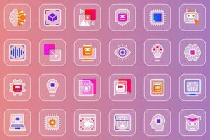 conjunto de ícones glassmorphic da web de inteligência artificial vetor