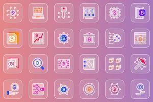 conjunto de ícones de vidro mórfico da web de mineração de bitcoin vetor