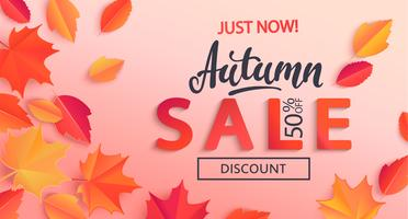 Banner de venda outono com desconto de metade do preço, rodeado por folhas de outono coloridas