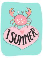 Cartão de verão brilhante com caranguejo