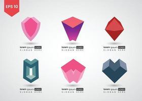conjunto de ilustração vetorial gradiente brilhante de logotipo 3d vetor