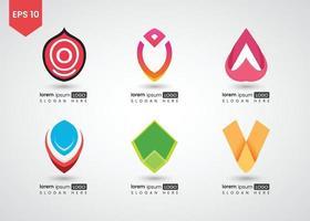 conjunto de ícones e logotipo quadrado brilhante ilustração vetorial gradiente vetor