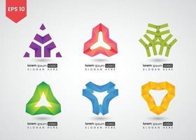 conjunto de ilustração vetorial gradiente brilhante de logotipo vetor