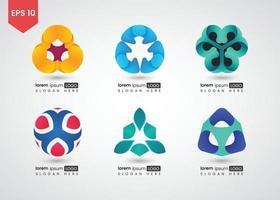 conjunto de ícones da web e ilustração vetorial gradiente brilhante de círculo de logotipo vetor