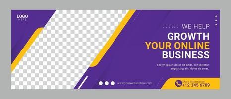 modelo de banner de capa de mídia social de agência digital de negócios corporativos vetor