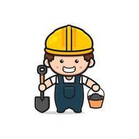 Trabalhador da construção civil bonito engenheiro segurando uma pá e cimento vetor
